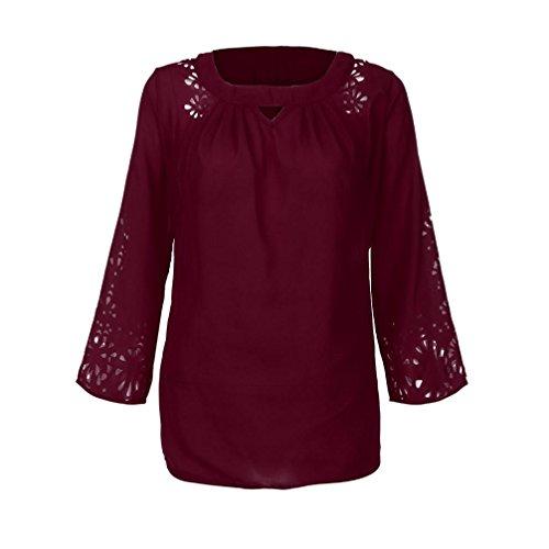Wine de Shirt T Tops Soie de Femmes Blouses 3 4 Manches Mousseline Chemisiers zqt7a7