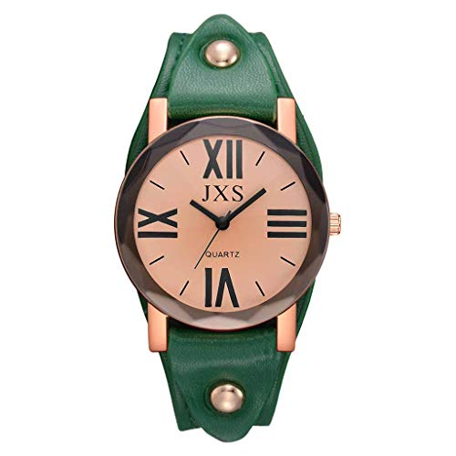 Women's Quartz Watch, Fashion Roman Number Padded Leather Strap Watches Dress for Ladies (Green)