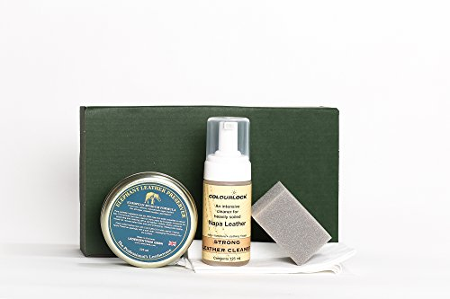COLOURLOCK Leather Cleaner & Wax (Elephant Leather Preserver) Kit - for furniture, car seats, handbags, jackets and accessories (Strong Cleaner)