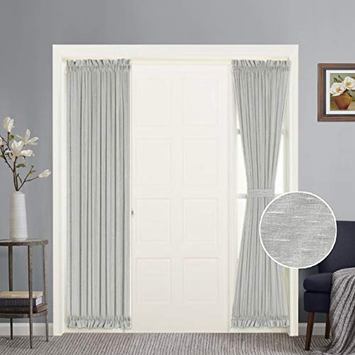 Functional Airy and Breathable French Door Curtain Rich Linen Home Fashion Semi Sheer Curtains, Rod Pocket Door Panel, Set of 2, Multi Size, 25 x 72 - Inch - Dove ()