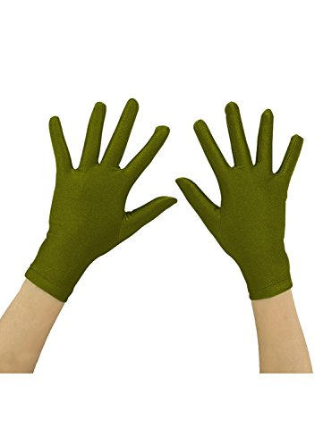 Ensnovo Adult Wrist Length Lycra Spandex Full Finger Stretchy Short Gloves Army Green, M ()