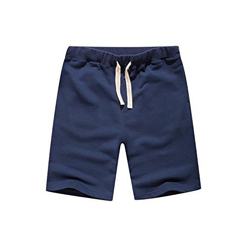 Leward Men's Casual Classic Fit Cotton Gym Short (M, Navy) Classic Cotton Shorts