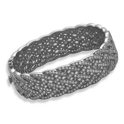 "3/4 ""plaqué Rhodium Noir-Bracelet Tressé - 590 JewelryWeb zircones"
