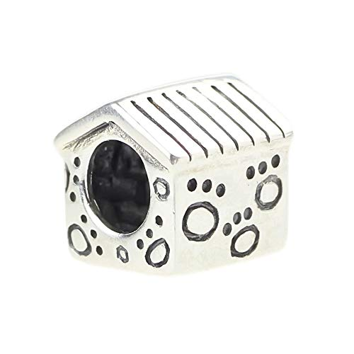 (Beads Hunter Jewelry .925 Sterling Silver Engraved Puppy Dog Paw Print Dog House Charm)