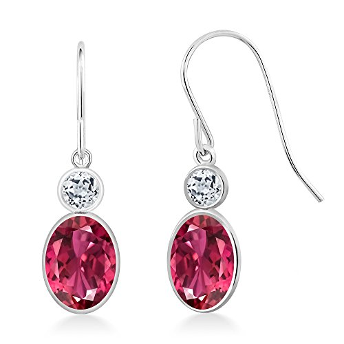 1.98 Ct Oval Pink Tourmaline White Topaz 14K White Gold Earrings (Gold Pink Topaz Earrings)
