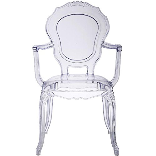 Amazon.com   2xhome   Set Of Four (4)   Belle Style Ghost Chair Ghost  Armchairs Dining Room Chairs   Clear Armchairs Lounge Chairs Seats Higher  Fine Modern ...