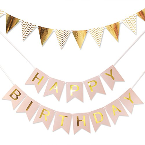 (RareLove 2 PCS Gold Paper Pennant Banner Triangle Flags Pink Happy Birthday Banner Party Decorations)