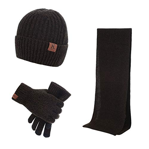 MICHAELAN 3 Pieces Winter Warm Knit Beanie Hat + Long Scarf + Non-Slip Touch Screen Gloves Gift Sets for Men Womens (Coffee) ()