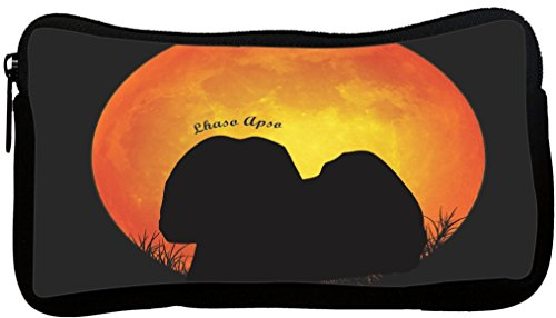 Rikki Knight Lhasa Apso Dog Silhouette by Moon Neoprene Pencil Case (dky-Neo-pc41377) -