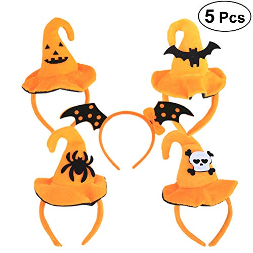 Frcolor 5pcs Halloween Headbands Witch Hat Skull Spider Bat Wing Headbands Halloween Party Cosplay Costume Dress up Accessories (Skull, Smiley, Spider, Bat) -