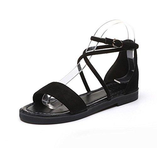 Verano zapatos abiertos hebilla sandalias planas de los zapatos de los estudiantes Black