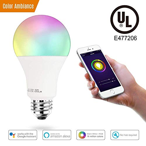 3Stone Smart A21 RGBW Warm White & Color LED Bulbs, WiFi APP Controlled LED Light Bulbs, Multicolor, Dimmable White, Compatible with Amazon Alexa , 100-Watt Equivalent
