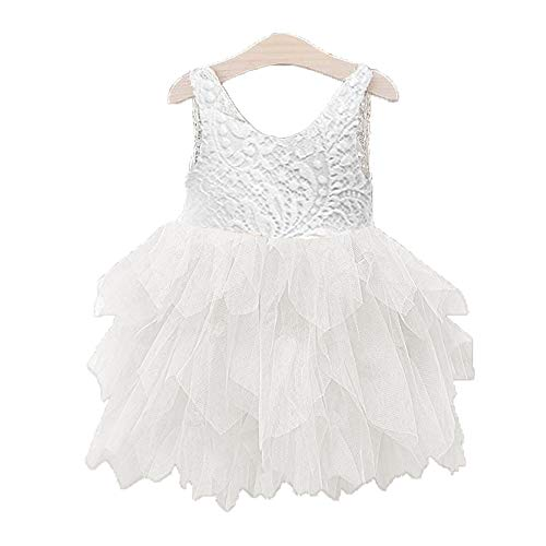 Topmaker Backless A-line Lace Back Flower Girl Dress (1T, Non-Beads-White)