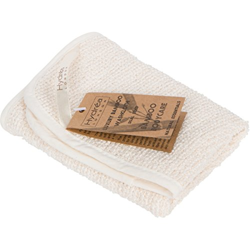 Hydrea London Body Bamboo Washcloth - Cotton Dual Sided Face All-Natural Antibacterial Hand Towel - London Natural