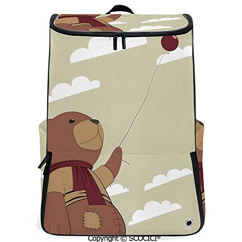 SCOCICI 3D Printed Backpack,A Melancholic Teddy Bear with Scarf Holding a Balloon Clouds in the Sky Clipart,Beige Cinnamon,Funny Personalized Graphics