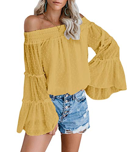 EasySmile Womens Off The Shoulder Tops Blouses Summer Casual Chiffon Bell Sleeve Ruffle Tunic Shirts S-XXL Yellow