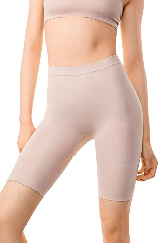 +MD Women's Tummy Control High Waist Shapewear Panties Mid Thigh Rear Lifting Shaper Slimmer Power Shorts Medium Nude