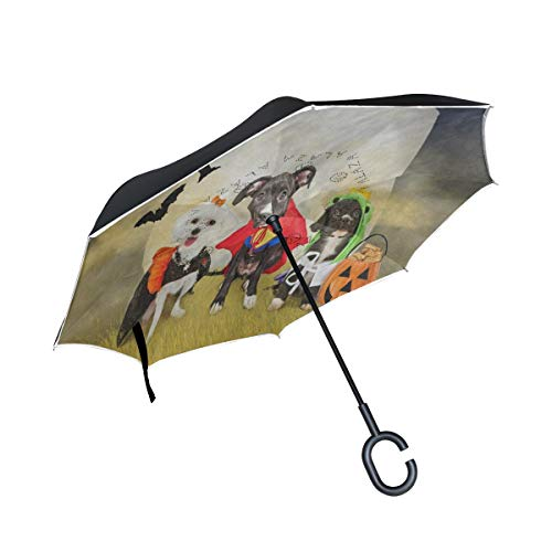 IDO Inverted Umbrella Hipster Puppy Dog Dressed in Halloween Costumes Double Layer Reverse Umbrella for Car and Outdoor Use by, Windproof UV Protection Big Straight Umbrella with C-Shaped Handle