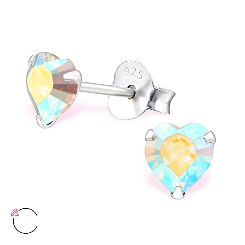 925 Sterling Silver Hypoallergenic AB Swarovski Crystal Heart Stud Earrings for Girls 24394 - Ab Swarovski Crystal Heart Earrings