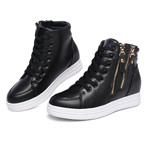 Wedge Womens Bottom Thick Lace Fashion Waterproof Shoes Btrada Side Casual Up Black Zipper Sneaker zgSx1
