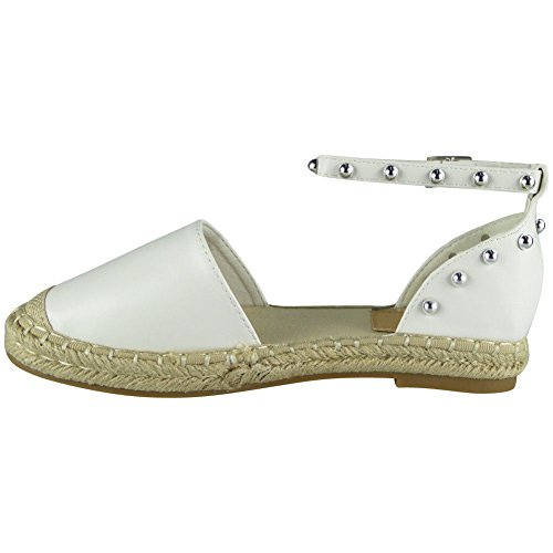 Ankle Shoes 8 Sandals Size Strap Womens Studded White Espadrilles Loud Ladies Hessian 3 Look Flats Rg8wSxt