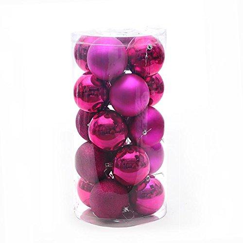 Wrisky Christmas Tree Xmas Balls Decorations Baubles Party Wedding Ornament 24pcs 4cm (Hot Pink) by Wrisky