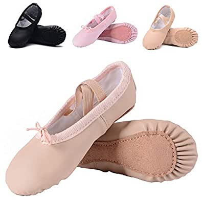 Ruqiji Leather Ballet Shoes for Girls/Toddlers/Kids/Women, Full Sole Leather Ballet Slippers/Dance Shoes Beige Size: 1 Little Kid