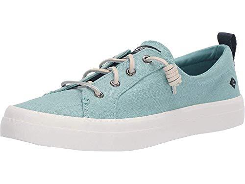 SPERRY Women's Crest Vibe Washed Linen Sneaker, Mint, 5