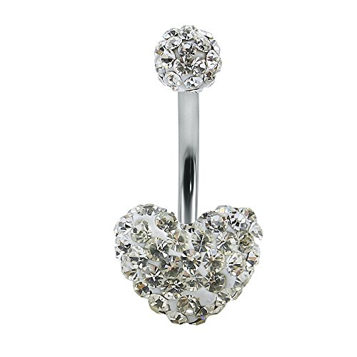Shiny Multi Crystal Double Sweet Heart Ball Belly Button Ring Navel Ring Body Jewellery (White) - Crystal Heart Navel Ring