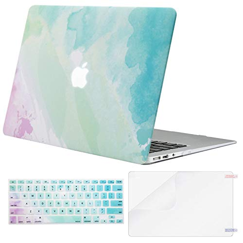 MOSISO MacBook Air 13 Case (A1369 & A1466, Older Version 2010-2017 Release), Plastic Pattern Hard Case & Keyboard Cover & Screen Protector Only Compatible MacBook Air 13 Inch, Rainbow Mist ()