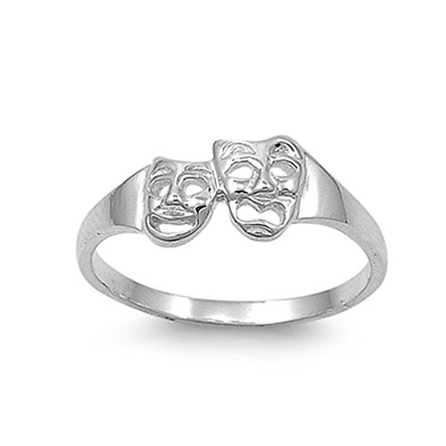 Drama Masks Ring (.925 Sterling Silver 2mm Drama Face Mask Ring)