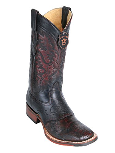 Men's Wide Square Toe with Saddle Black Cherry Genuine Leather Ostrich Leg Skin Western Boots