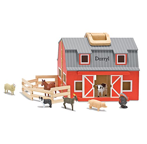 (Melissa & Doug Personalized Fold and Go Wooden Barn with 7 Animal Play Figures)