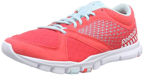 Reebok WoMen Yourflex Trainette 7.0 Fitness Shoes Orange - Orange (Neon Cherry/Cool Breeze/White)