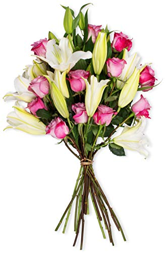 Benchmark Bouquets Lavender Roses and White Oriental Lilies, No Vase (Fresh Cut Flowers) -