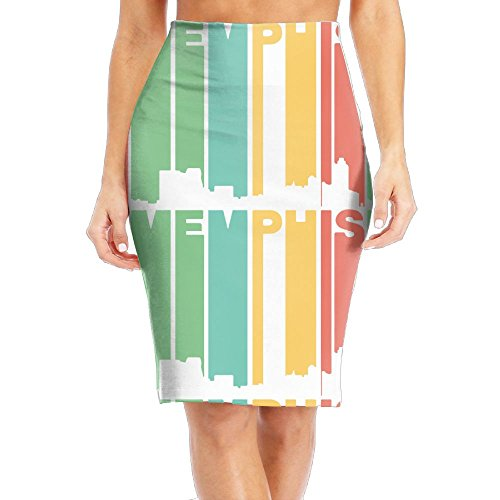 (Retro 1970's Style Memphis Tennessee Skyline Women's Fashion Printed Pencil Skirt)