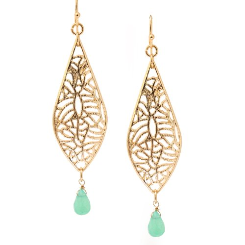 (Gold Plated Brush Metal Leaf with Crystal Accent Earrings Turquoise)