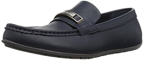 Calvin Klein Men's Irving Tumbled Leather Slip-on Loafer, Dark Navy, 11.5 M (Navy Tumbled Leather)