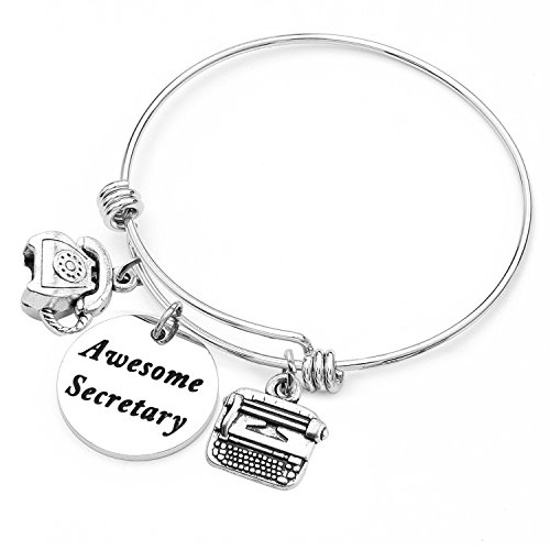 SEIRAA Secretary Gift Awesome Secretary Bracelet Expanded Charm Bracelet Personalized Office Worker Jewelry (Awesome Secretary)