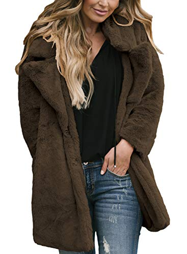 Asvivid Womens Fuzzy Fluffy Long Sleeve Lapel Faux Fur Shaggy Jacket Coat Outerwear Small Brown