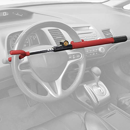 BDK Steering Wheel Lock – Adjustable Heavy Duty Anti-Theft Device Extra Secure – Red