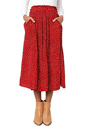 Women's Polka Dot Midi Pleated Length Skirts with Pockets Elastic Waist (Red,XL