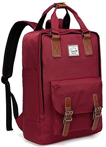 School Backpack for Men and Women,VASCHY Unisex Vintage Water Resistant Casual Daypack Rucksack Bookbag for College Fits 15inch Laptop Backpack Burgundy (Women 15 Laptop Bookbag)