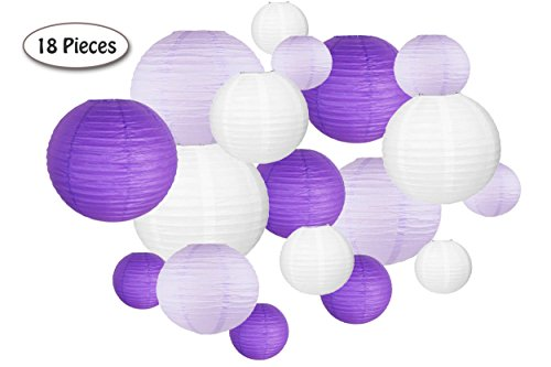 18 Pc Paper Round Lantern for Birthday Bridal Wedding Baby Shower Festival Party Decoration - Great for Indoor or Outdoor (Purple)]()