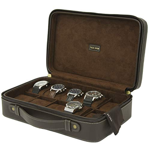Watch Case for 10 Travel Briefcase Design Leather Large Compartments Zipper (Brown) (Leather Watch Case)