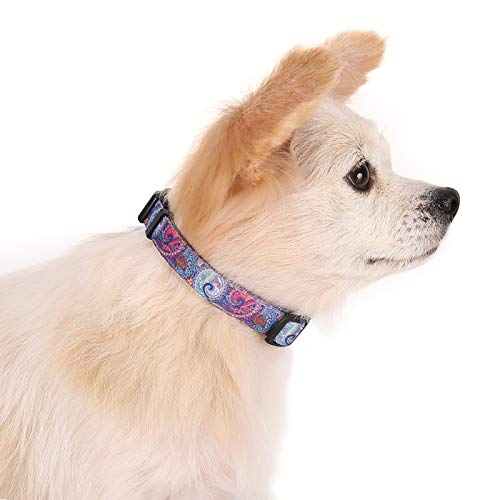 Premium Patterned Dog Collars - HDE Dog Collar Heavy Duty Adjustable Soft Nylon Pet Collar Multicolor Pattern Premium Collars with Metal Leash Loop and Durable Plastic Buckle