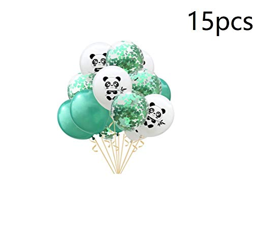 15pcs Latex Balloons Panda Printed Party Balloons Confetti Balloons for Birthday Party Decoration - Green & White]()