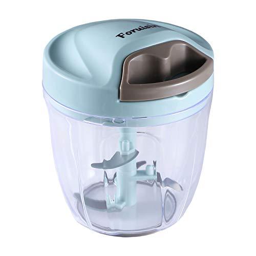 Foruisin Manual Food Chopper, Easy & Powerful Hand Held Vegetable Chopper/Blender to Chop Fruits/Nuts/Herbs/Onions/Garlics for Salsa/Pesto/Coleslaw/Puree (900ML)
