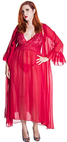 (Vx Intimate Women's Chiffon Nightgown With G-String and Robe 3 Pieces Set #60753074X/XX (3X, Red))