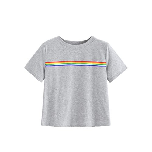 ANJUNIE tops Women's Blouse,Summer Rainbow Block Striped Crop Top Casual Girl Teen T Shirts (Gray,XL) (Glamour Sweatshirt Vintage)
